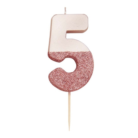 We Heart Birthdays Rose Gold Glitter Number Candle 5