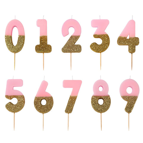 Pink and Gold Glitter Number Birthday Candles Starter Set - Numbers 0-9