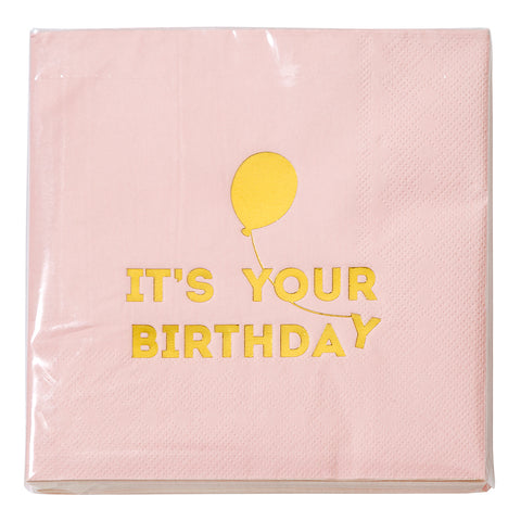 We Heart Birthdays Pink Napkins
