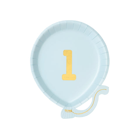 We Heart Birthdays Balloon Plate 1st Birthday Blue