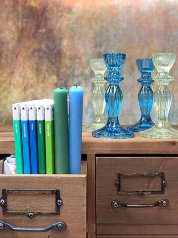 Boho Spice Green and Blue Dinner Candles
