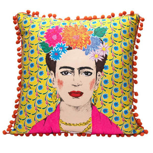 Image - Boho Yellow Tassel Frida Kahlo Cushion