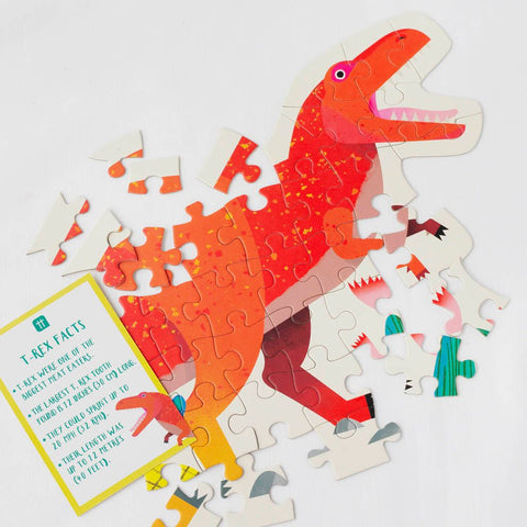 Party Dinosaur Tyrannosaurus Rex Shaped Puzzle 52 Pieces