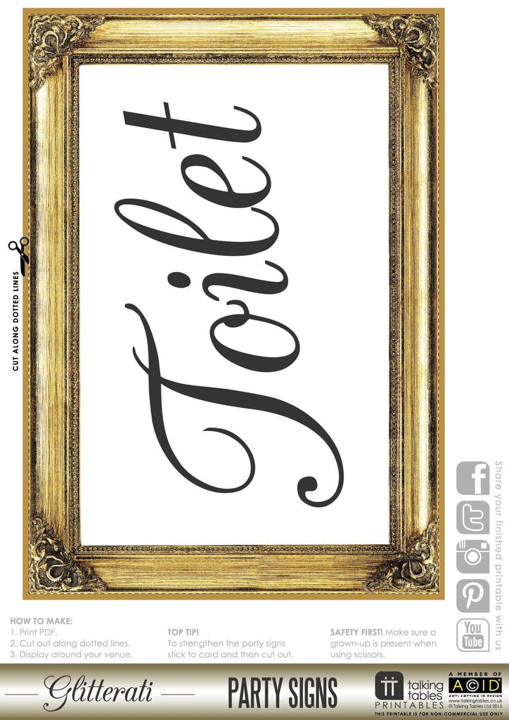Talking Tables Printable - Glitterati Sign