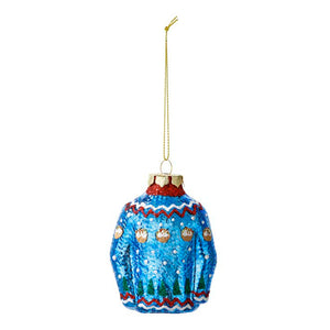 Blue Christmas Jumper Glass Tree Decoration