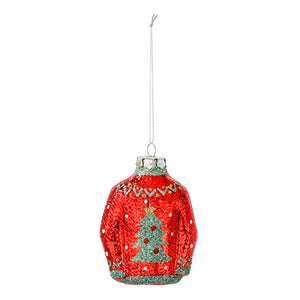 Red Christmas Jumper Glass Tree Decoration