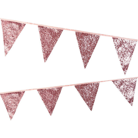 Luxe Pink Glitter Bunting, 3M