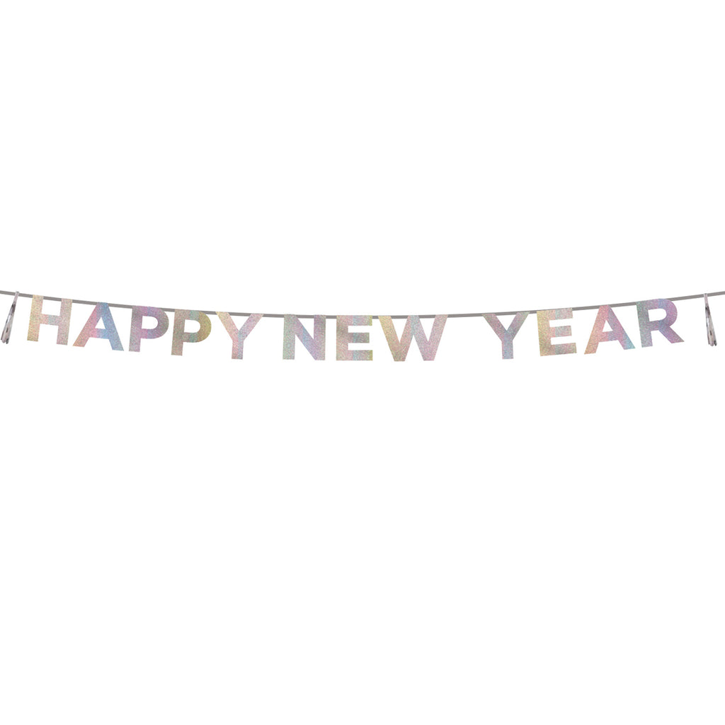 Say It With Glitter Iridescent 'Happy New Year' Banner