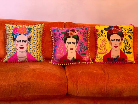 Boho Yellow Tassel Frida Kahlo Cushion