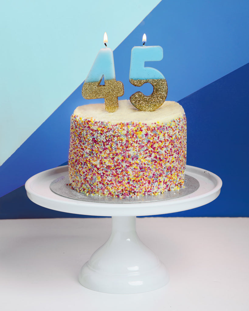 We Heart Birthday Glitter Number Candle Blue 4
