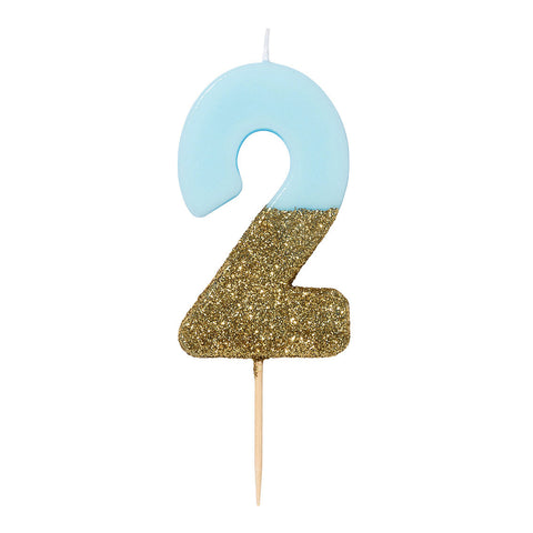 We Heart Birthday Glitter Number Candle Blue 2