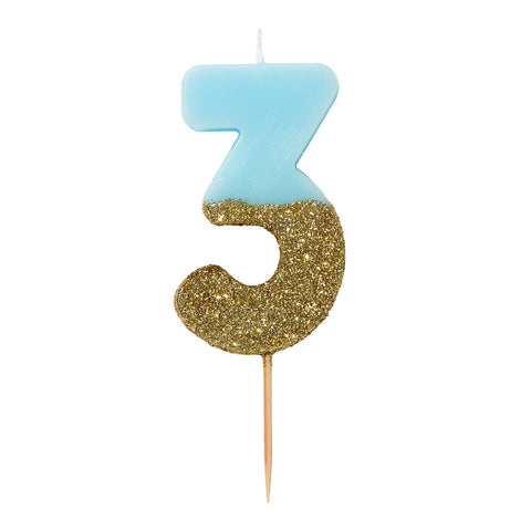 We Heart Birthday Glitter Number Candle Blue 3