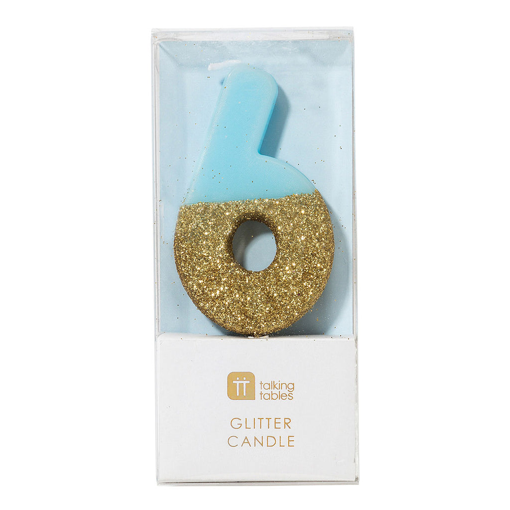 We Heart Birthday Glitter Number Candle Blue 6