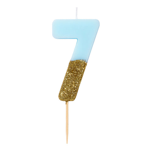We Heart Birthday Glitter Number Candle Blue 7
