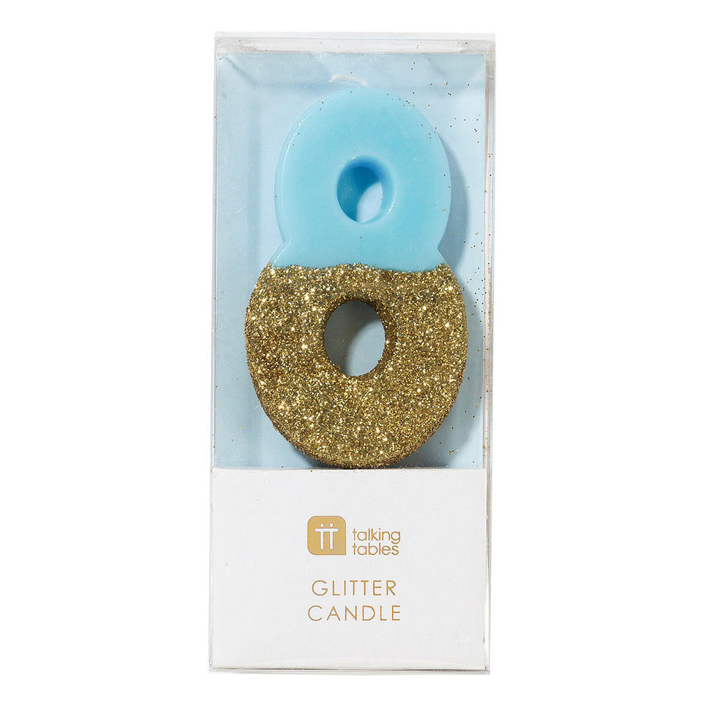We Heart Birthday Glitter Number Candle Blue 8