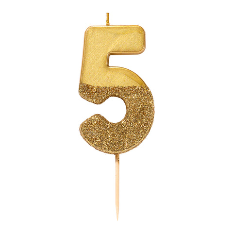 We Heart Birthdays Gold Glitter Number Candle 5