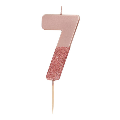 We Heart Birthdays Rose Gold Glitter Number Candle 7