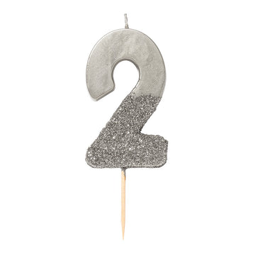 Image - We Heart Birthdays Glitter Number Candle 2, Silver
