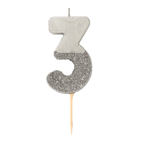 We Heart Birthdays Glitter Number Candle 3, Silver