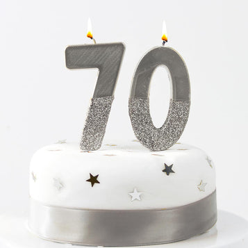 Image - We Heart Birthdays Glitter Number Candle 0, Silver