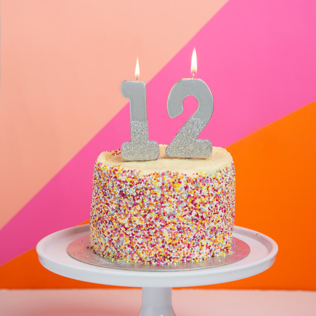 We Heart Birthdays Glitter Number Candle 1, Silver