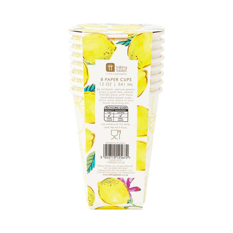 Recyclable Lemon Paper Cups, 341ml (Pack of 8) - Talking Tables