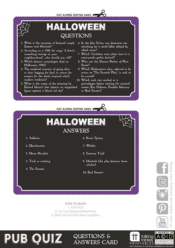 Talking Tables Printable - Pub Quiz Halloween Card