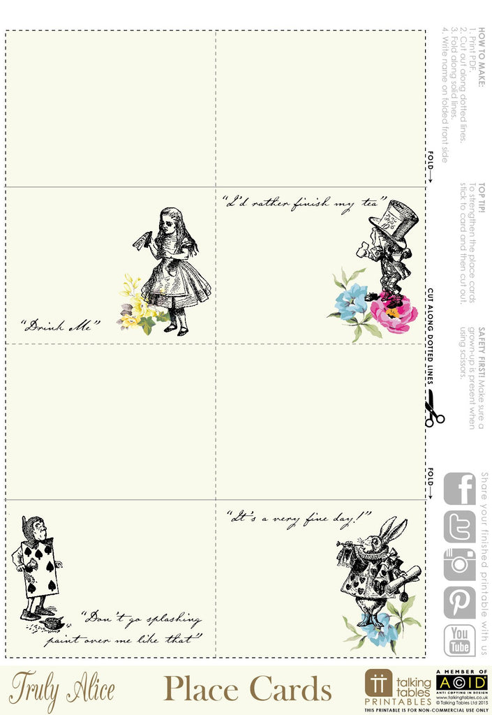 Talking Tables Printable - Truly Alice Printables