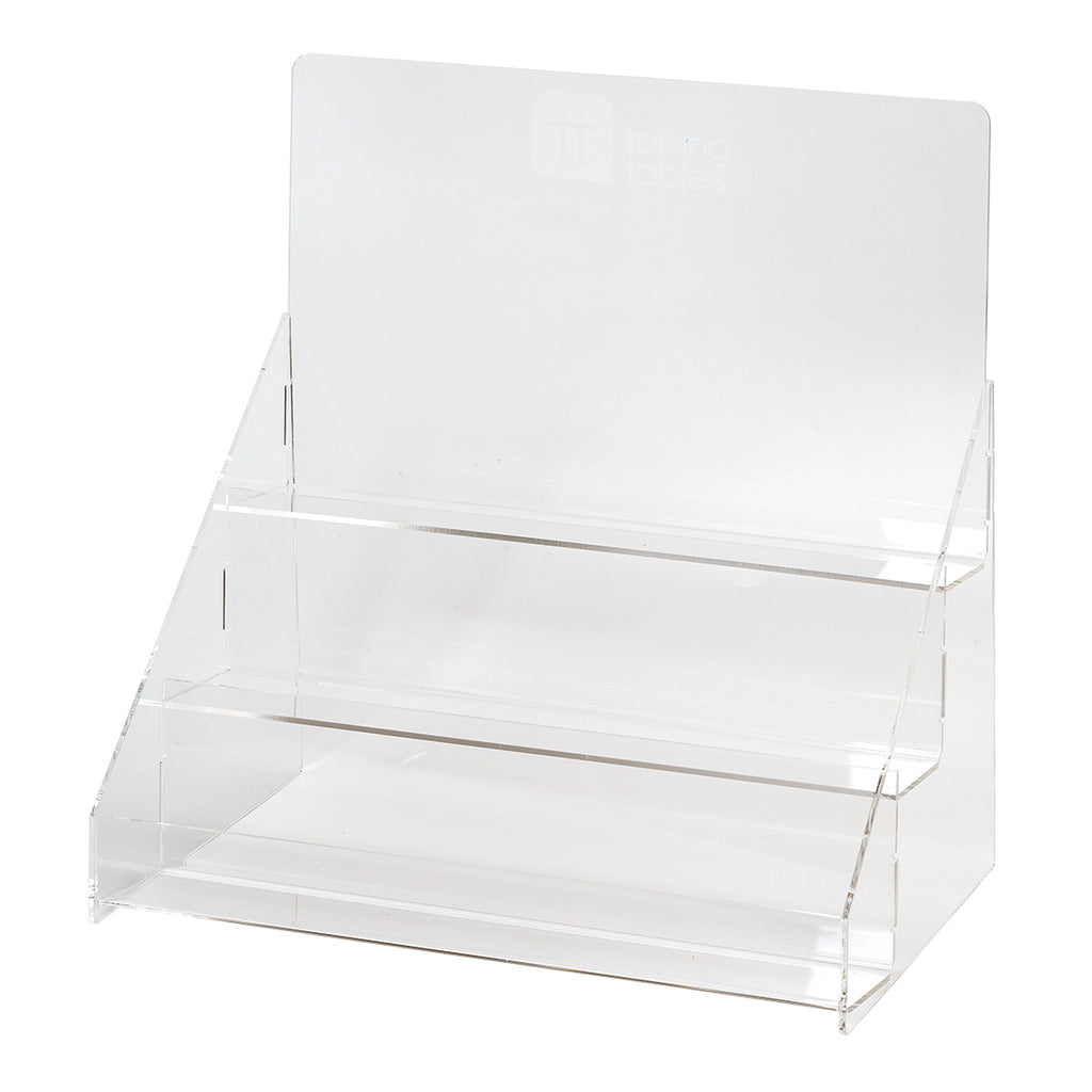 This Acrylic POS holds candles, napkins, badges and other items.