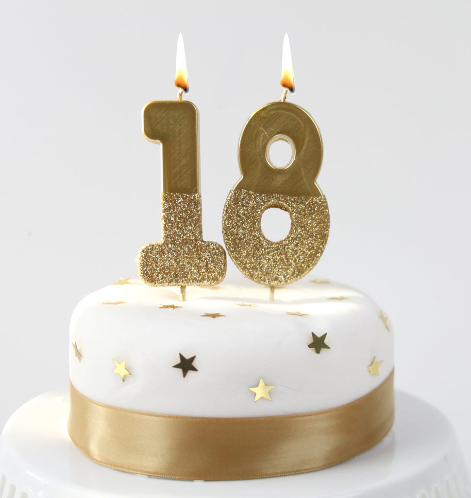 We Heart Birthdays Gold Glitter Number Candle 1 - Talking Tables US Public