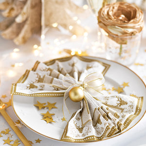 Party Porcelain Gold Stag Dinner Napkins