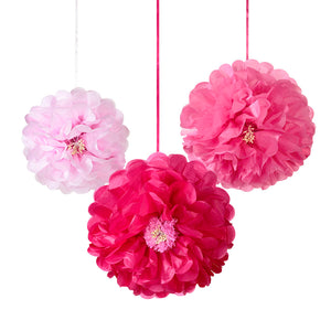 Talking Tables decadent garden pompom flower pink 3pk