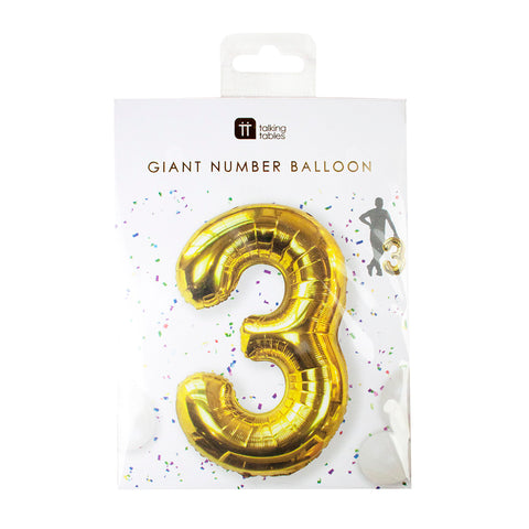 Talking Tables we heart birthday number 3 foil balloon 34 inch
