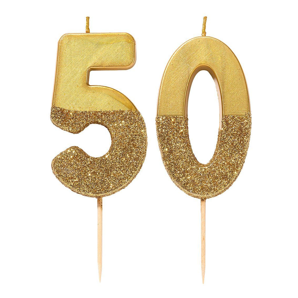 We Heart Birthdays Gold Glitter Number Candle 5 - Talking Tables US Public