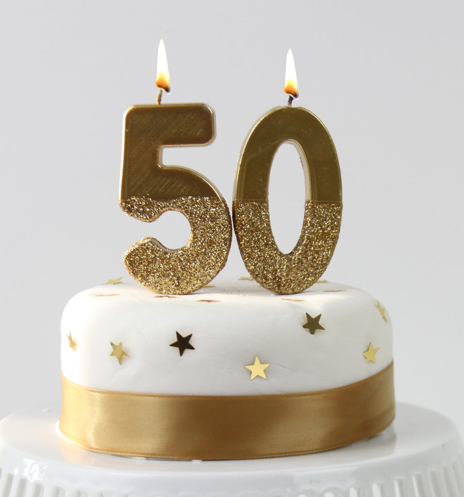 We Heart Birthdays Gold Glitter Number Candle 0