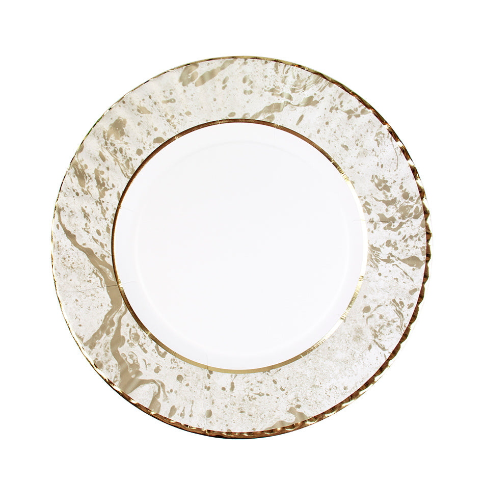 Party Porcelain Gold Large Marble Effect Plates