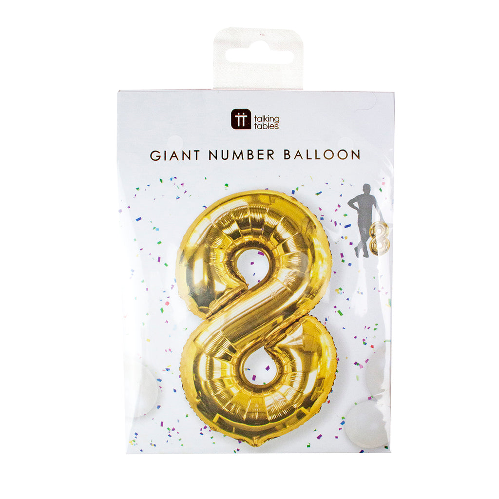 Talking Tables we heart birthday number 8 foil balloon 34 inch