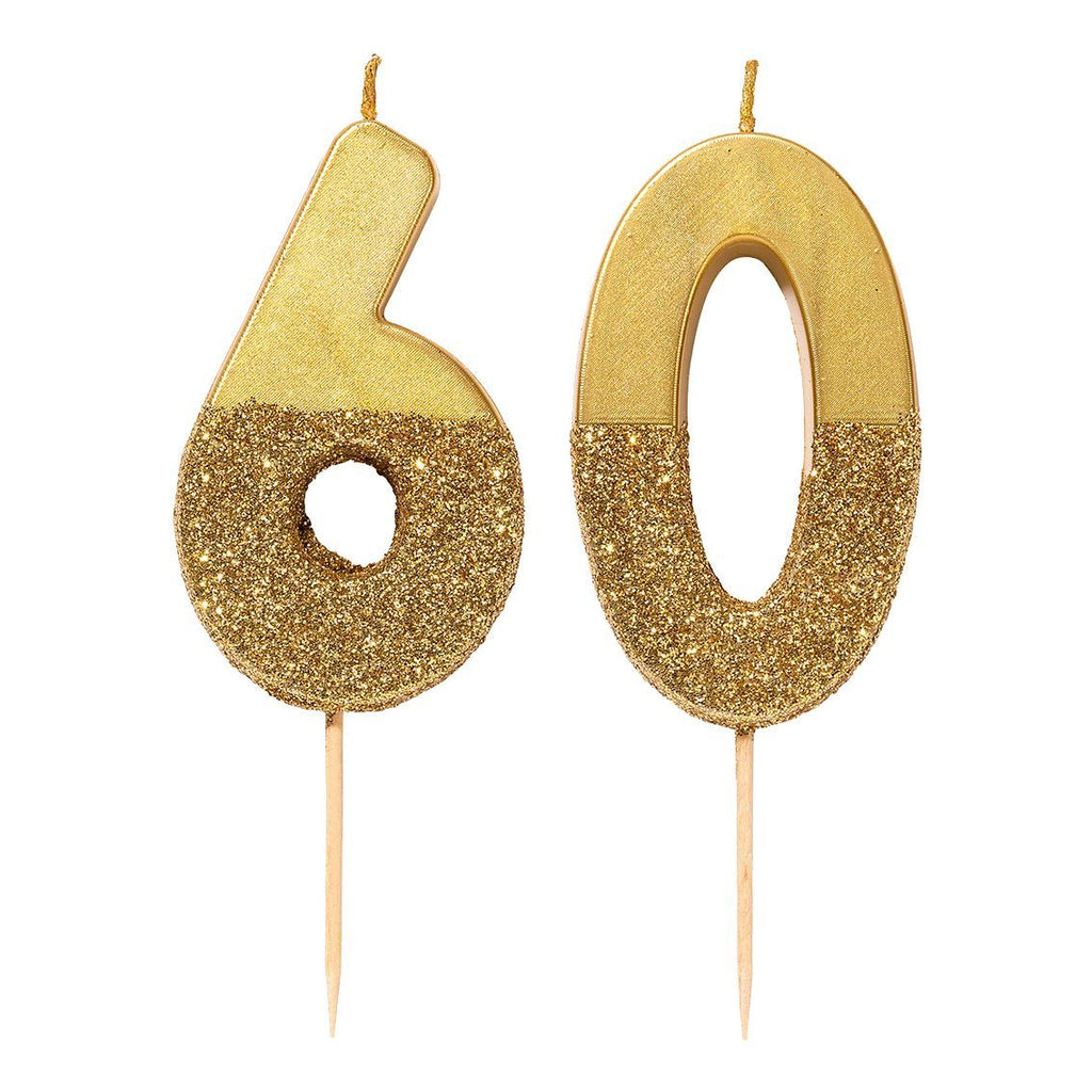 We Heart Birthdays Gold Glitter Number Candle 6 - Talking Tables US Public
