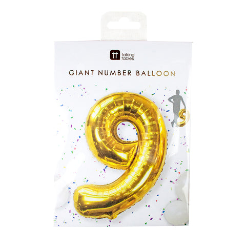Talking Tables we heart birthday number 9 foil balloon 34 inch