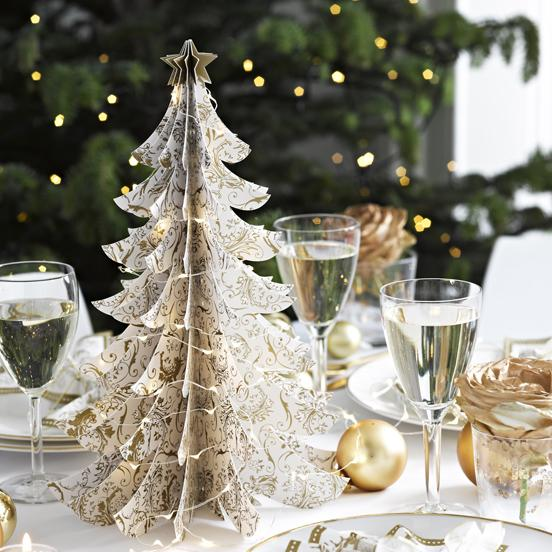 Party Porcelain Gold Table Top Tree Decoration