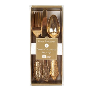 Talking Tables party porcelain gold cutlery set 6 pk