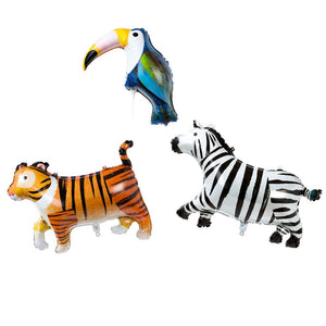 Talking Tables foil animal balloons 3pk zebra tiger toucan