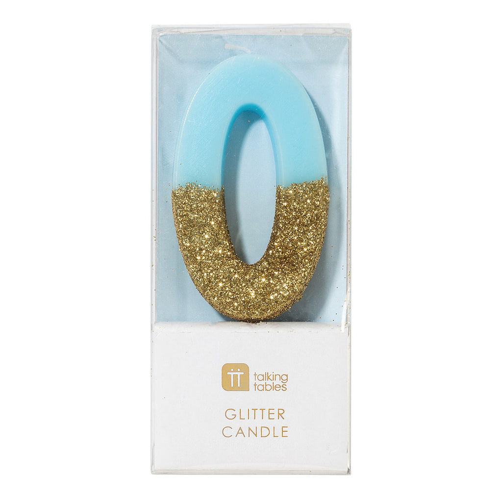 We Heart Birthday Glitter Number Candle Blue 0