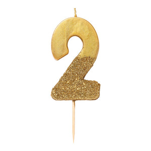We Heart Birthdays Gold Glitter Number Candle 2 - Talking Tables US Public