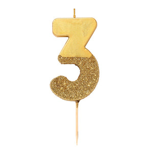 We Heart Birthdays Gold Glitter Number Candle 3 - Talking Tables US Public