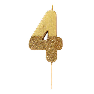 We Heart Birthdays Gold Glitter Number Candle 4 - Talking Tables US Public