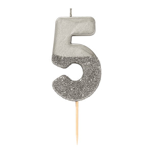 We Heart Birthdays Glitter Number Candle 5, Silver