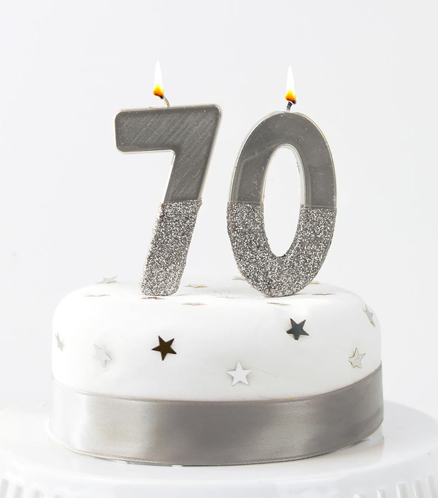 We Heart Birthdays Glitter Number Candle 0, Silver