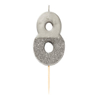 We Heart Birthdays Glitter Number Candle 8, Silver