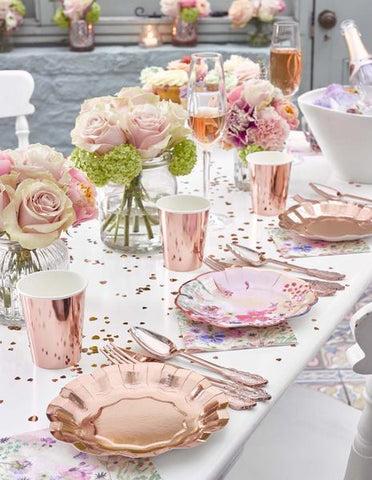 Talking Tables party porcelain rose gold small plates